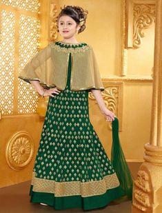 56bc276b8e5e1e Cape style lehenga choli in green silk fabric Kids Lehenga Choli, Lehenga  Choli Online,