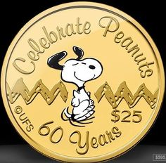 Niue $25 'Snoopy' 60th Anniversary of the Peanuts Cartoon gold proof coin 2010.