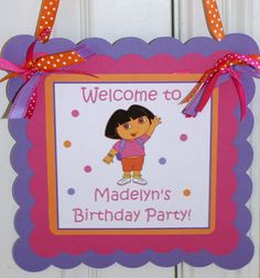 Dora the Explorer Birthday Party Welcome by ThePartyPaperFairy, $15.00