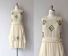 Moku-hanga silk dress | antique 1920s dress | silk embroidered 20s dress