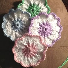 Crocheted Springtime drink coasters.