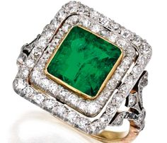 Platinum, Gold, Emerald and Diamond Ring, France