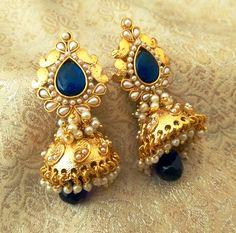 Stunning Blue Bandani Golden Pearls Jhumka Earrings