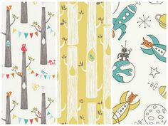 MUST HAVE!!! Bunting Trees are adorable :) Great colors too - Cynthia Mann's Birch Fabrics