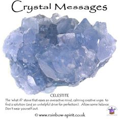 Celestite gemstone Celestite eases an overactive mind, one of my crystal posters for a Rainbow Spirit crystal shop. Crystal Magic, Crystal Healing Stones, Crystal Shop, Crystal Grid, Stones And Crystals, Minerals And Gemstones, Crystals Minerals, Rocks And Minerals, Crystal Meanings