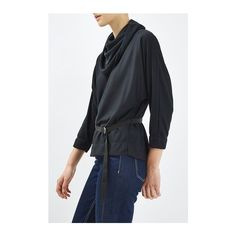 Cowl Batwing Blouse by Boutique (190 BRL) ❤ liked on Polyvore featuring tops, blouses, navy, navy blue blouse, topshop blouses, navy top, navy blue top and cowl top