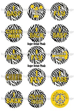 INSTANT DOWNLOAD Yellow Gold  Zebra Cheer  by sugarnspicebow
