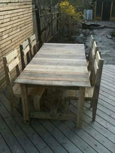 Basic Farmers Table And Chairs Made From Pallets   ---   #pallets   #palletproject
