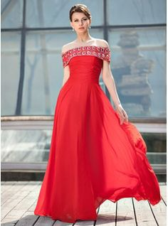A-Line/Princess Off-the-Shoulder Floor-Length Chiffon Mother of the Bride Dress With Ruffle Beading Sequins (008018927) - JJsHouse