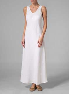 Linen Bias Cut Sleeveless Long Dress - Plus Size White Linen Dresses, Cotton Dresses, White Dress, Miss Me Outfits, Plus Clothing, Gypsy Clothing, Simple Dress Pattern, Bias Cut Dress, Androgynous Fashion