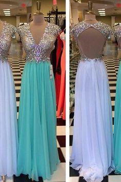 Sexy v-neck long prom dress,custom made beading/crystal chiffon formal dress,long evening gowns 2015 ,2015 prom dress