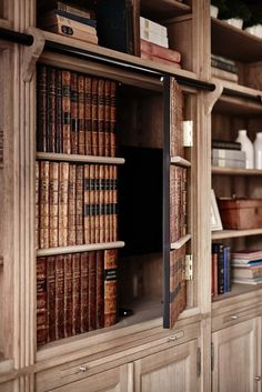 Delightful countryside getaway in England with inviting interiors: Mill House Miller House, Hidden Spaces, Hidden Rooms, Bookcase Door, Barrister Bookcase, Bookcases, Fresh Farmhouse, Home Libraries, Secret Rooms
