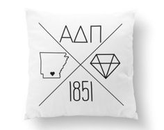 "10"" or 16"" Personalized Alpha Delta Pi Icons Pillow - Sorority Pillow"