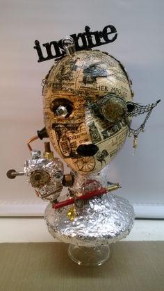 Steampunk altered Styrofoam head Styrofoam Head, Mannequin Art, School Art Projects, Masks Art, Middle School Art, Diy Centerpieces, Steampunk Diy, Recycled Art, Altered Art