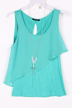 Lilly Chiffon Top in Greek Turquoise on Emma Stine Limited
