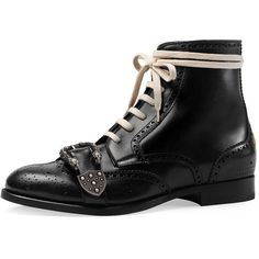 c7d75db57 Gucci Queercore Lace-Up Brogue Boot w/Buckle (€1.405) ❤ liked on Polyvore  featuring men's fashion, men's shoes, men's boots, black, mens wingtip  shoes, ...