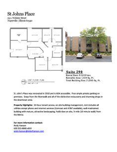 29 S. Webster Street, Suite 290 Naperville, IL 60540 Size sqft. 1,524 SF Unit Category Office Trans. Type Lease Company  Elder Hanson