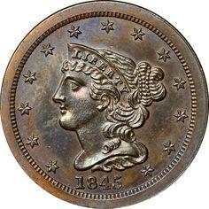 Braided Hair Half Cents - 1845 ORIGINAL 1/2C PF