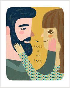 Ton visage est mon visage par Sarah Walsh par PetitReve sur Etsy, $20.00