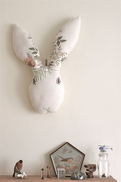 = Soft toy wall art and pentagonal framed bird = A wooden tree