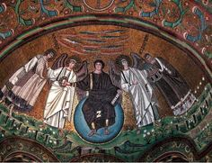 A mural on the top of a Byzantine era church souronded by angles