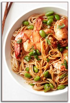 Asian Noodles with Shrimp and Edamame recipe from Food Network Kitchen via Food… Asian Recipes, Ethnic Recipes, Kid Recipes, Budget Recipes, Japanese Recipes, Vietnamese Recipes, Japanese Food, Fall Recipes, Yummy Recipes