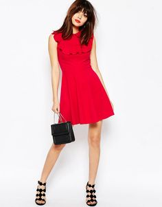 ASOS Skater Dress in Ponte with Collar and Ruffle Detail