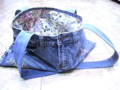 Overalls are back in style :). Upcycled and repurposed denim purse from overalls, made from upcycled fabrics.
