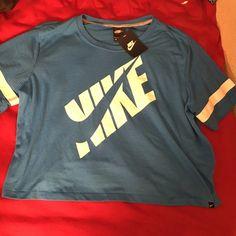 NIKE cropped mesh baby blue t shirt NWT Nike Tops Crop Tops