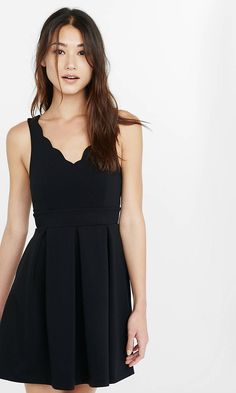 Black Scalloped Fit And Flare Dress | Express