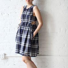 Caron Callahan Timor Dress Blue Plaid