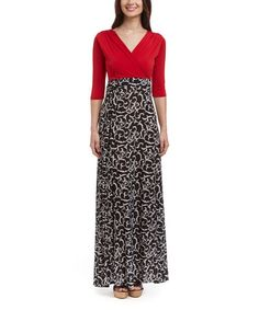 Look what I found on #zulily! Red & Black Scroll Surplice Maxi Dress #zulilyfinds