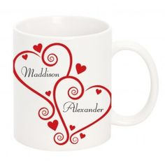 A wonderful way to tell your Valentine how much you love them. A romantic personalised mug with each of your names inside a heart.