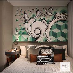 Graffiti na parede do quarto, super criativo, né? Projeto by @fernandamarquesarquiteta Diferente e lindo, amei!! Bom dia! #ahlaemcasa #graffiti #artenaparede #quarto #cabeceira