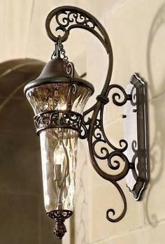 Outdoor lamp/light/fixture, wrought iron by Frontgate Exterior Lighting, Outdoor Lighting, Lighting Ideas, Outdoor Lamps, Outdoor Lantern, Porch Lighting, Unique Lighting, Outdoor Fire, Tuscan Decorating