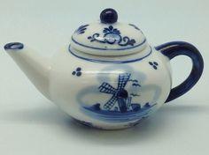 Mini Tea Pot with Delft Blue Windmill Design