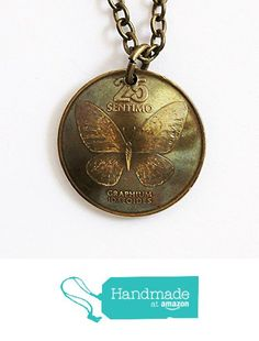 Philippines Domed Coin Butterfly Necklace Pendant 25 Sentimo 1985
