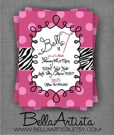 Have to re-pin when I find my own stuff! Hot Pink  Zebra Invite Girl's Birthday Party by BellaArtista, $15.00