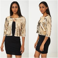 Gold Sequin Bolero Shrug Cardigan Womens Ladies Cocktail Evening Sizes UK 10 NEW Flapper Dresses, Party Dresses, Shrug Cardigan, Cardigans For Women, Gatsby, New Outfits, Mini Skirts, Cocktail, Sequins