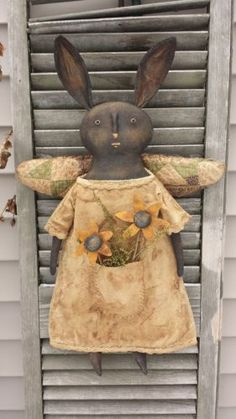 "Primitive Black Angel Rabbit "" Pocket Full of Posies"" -The Smiling Goat on eBay"