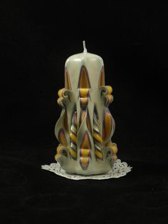 Hand Carved Candle, Yellow, Fushia and Off-White, Straight Twist Carve, 5 Inch - https://www.etsy.com/listing/251668318/hand-carved-candle-yellow-fushia-and-off?utm_source=socialpilotco&utm_medium=api&utm_campaign=api #candles