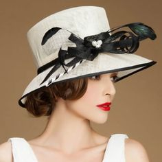 Designer Women Off White Black Linen Dress Derby Hats for Church SKU-158481 #HatsForWomenFancy
