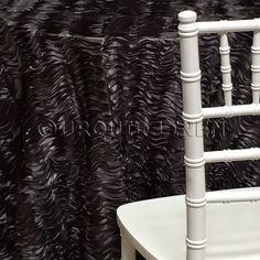 Austrian Wave Satin Tablecloth   Black