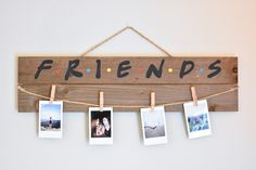 Friends TV Show Picture/Polaroid Hanging Board Diy Home Projects Easy, Picture Boards, Polaroid Pictures, Diy Gifts For Friends, Wooden Picture, Friends Tv Show, Diy Hanging, Hanging Pictures, Friend Pictures