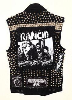 Unisex Studded Punk Rock Black Vest W Band By Tiffanymamone   Black Denim Vest