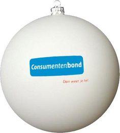 Bedrukte kerstbal wit met logo Consumentenbond in 2 kleuren