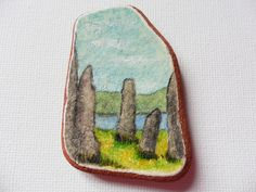 Standing stones scotland - Acrylic miniature painting on English sea pottery by ShePaintsSeaglass on Etsy