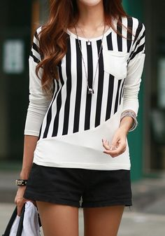 Going for chic and street-ready look? Wear this white striped tee with style by teaming it up with necklace and pants. See more amazing items atFichic.com!