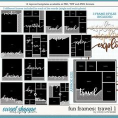 Cindy's Layered Templates - Fun Frames: Travel 1 by Cindy Schneider Frame Template, Layout Template, Drop Shadow, Multi Photo, Scrapbook Templates, Travel Memories, Page Layout, Digital Scrapbooking, Cool Photos