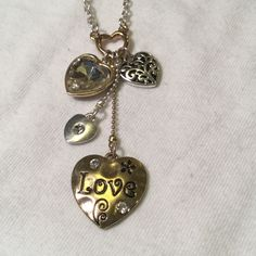 "Charming Charlie heart Love necklace Only worn a couple of times..measures 9"" drop ..adjustable Charming Charlie Jewelry Necklaces"